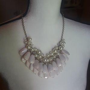 White Statement Necklace (never worn)